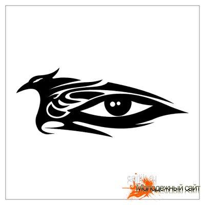 Стилизованные черно-белые эскизы человеческого глаза для татуировки.