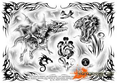 черно белая татуировка дракона