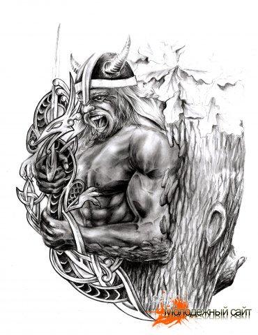 рисунок карандашом викинг