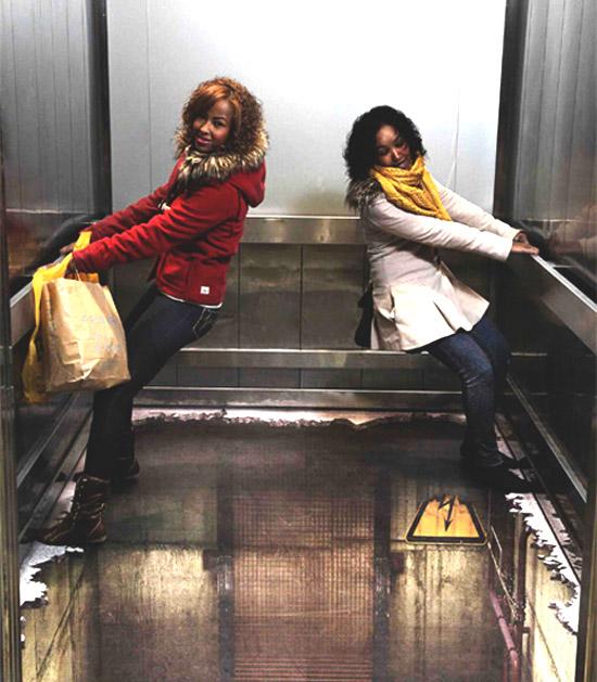 Рисунок в лифте (3D)