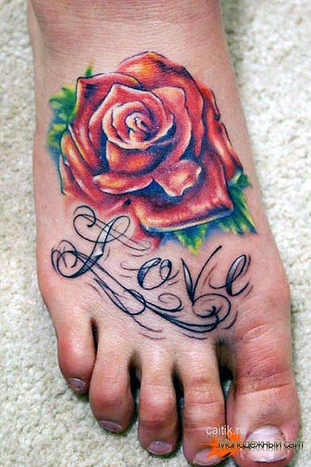 роза на ноге