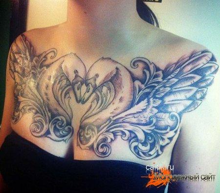 пара лебедей с поднятыми крыльями на груди