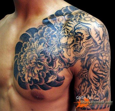 татуировка тигр японский стиль