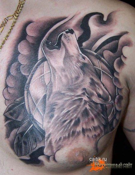 татуировка воющий волк