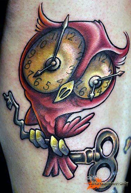 татуировка сова с ключом