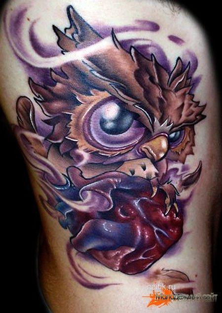 татуировка сова с сердцем