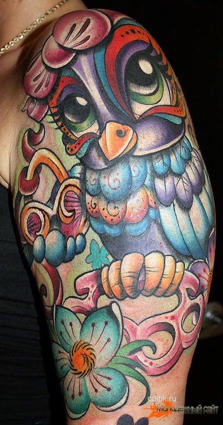 женская татуировка сова