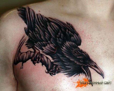 татуировка кричащий ворон