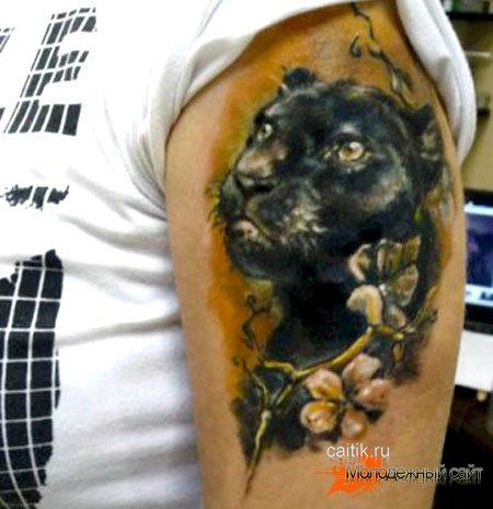 тату пантера с цветами на плече