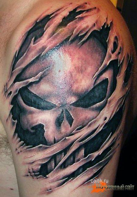 татуировка череп вырывающийся из руки
