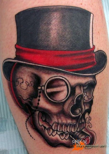 татуировка череп с цилиндром и сигарой