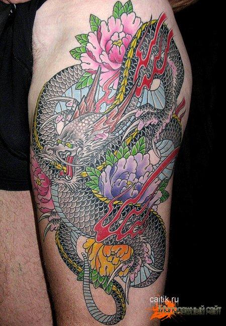 татуировка пион с драконом