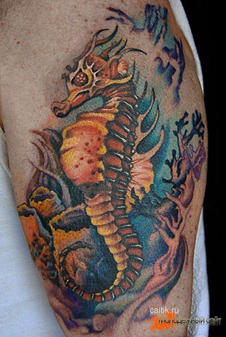 татуировка морской конёк на морском дне