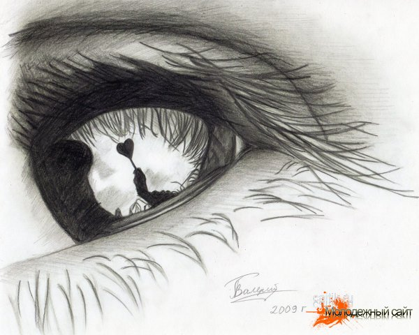 Рисунки глаз карандашом