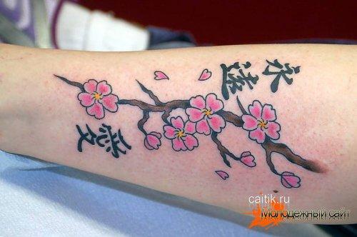 татуировка сакура на руке с иероглифами