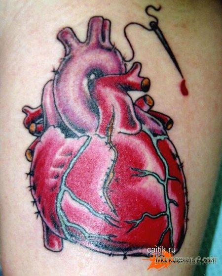 татуировка реалистичное сердце с иглой