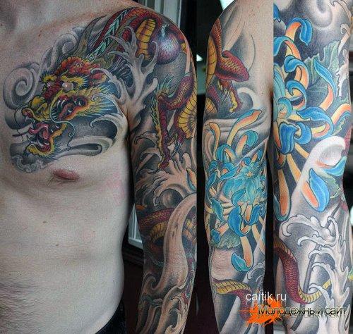 татуировка хризантема в японском стиле с драконом