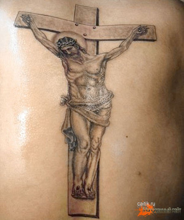 татуировка крест с  Иисусом