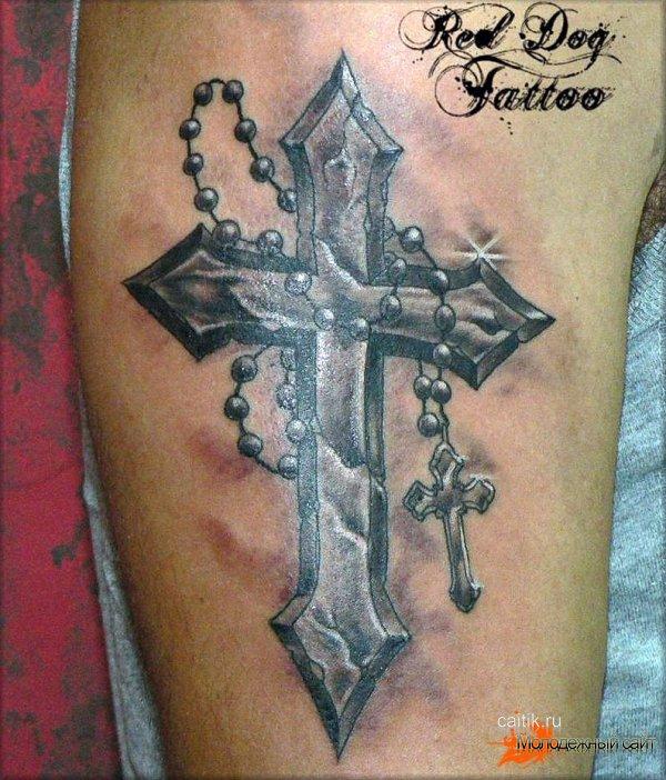 татуировка крест с четками