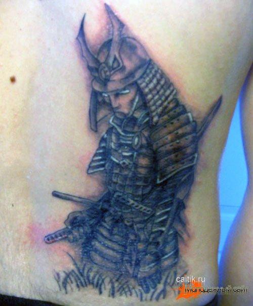 татуировка самурай склонивший голову