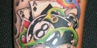 татуировка бильярдный шар номер 8 с картами