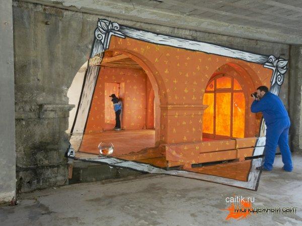 Искажающие реальность граффити в подъезде