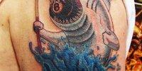 татуировка акула и бильярдный шар