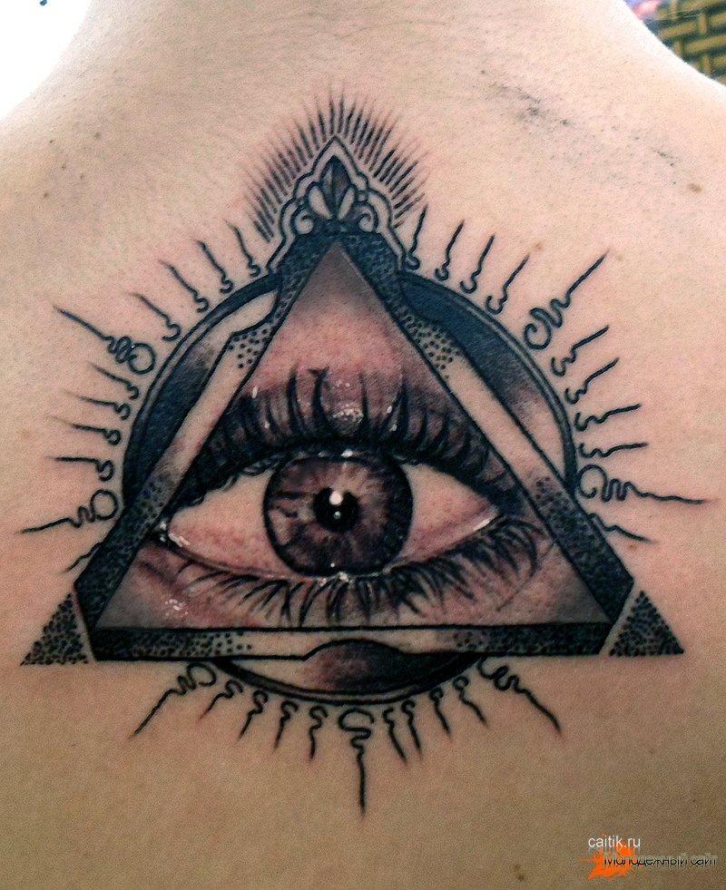 Тату глаз гора в треугольнике