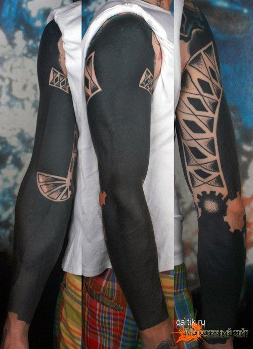эскизы тату рукава мужские черные