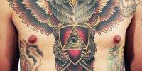 татуировка на груди сова и Всевидящее Око