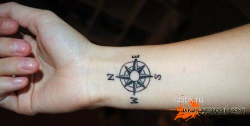 татуировка Роза ветров на запястье