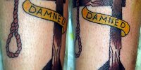 татуировка петля на шее и надпись проклятый