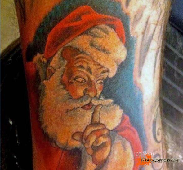 новогодняя татуировка Санта-Клаус