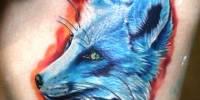 синий лис татуировка на боку