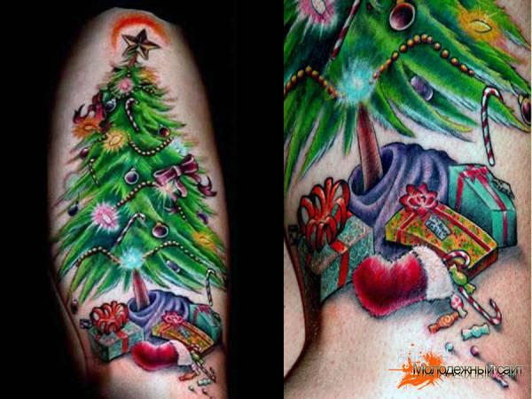 рождественская татуировка елка с подарками