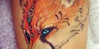 лиса с розой татуировка
