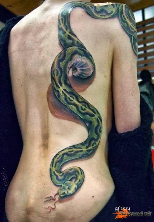 женская татуировка питон