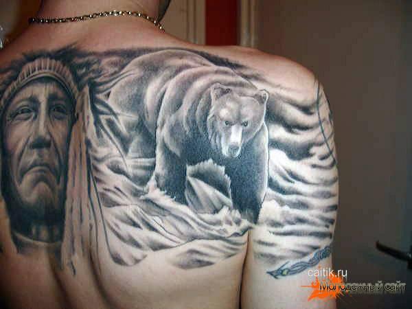 медведь с индейцем на спине