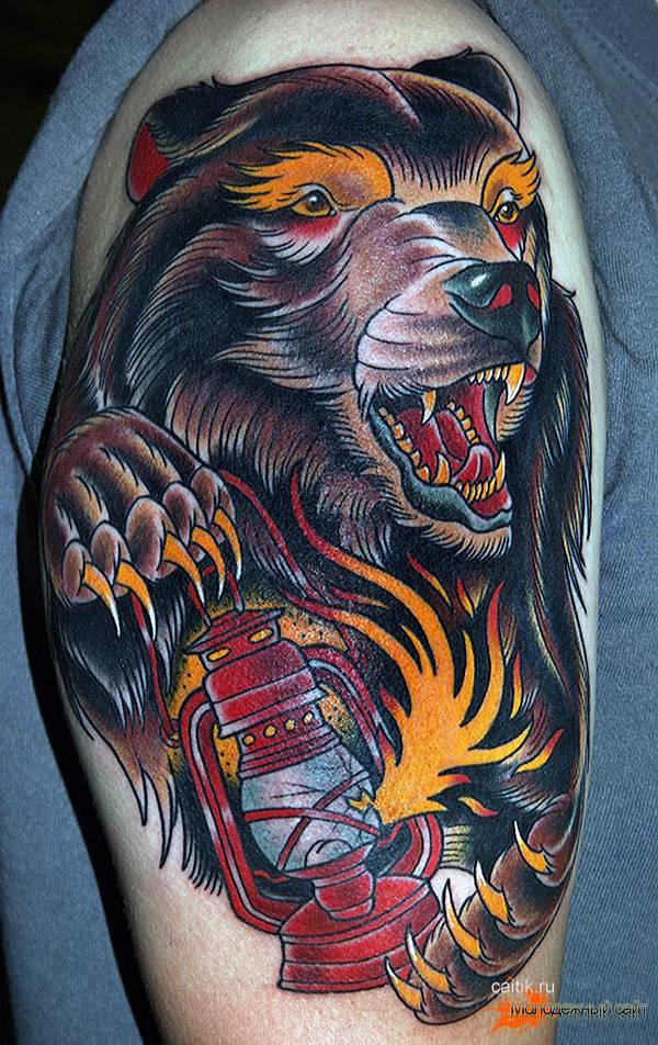 медведь с огнем тату