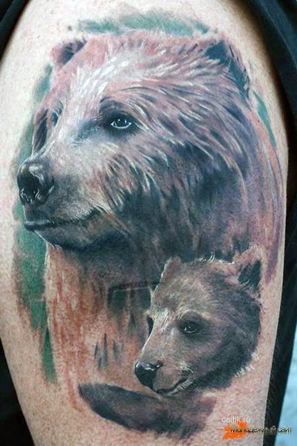 медведица с медвежонком татуировка