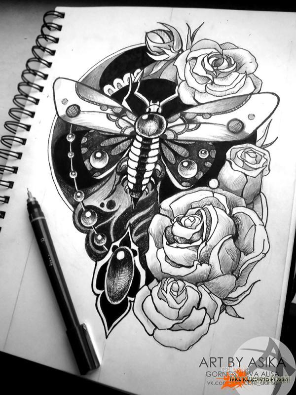 бражник композиция с розами эскиз