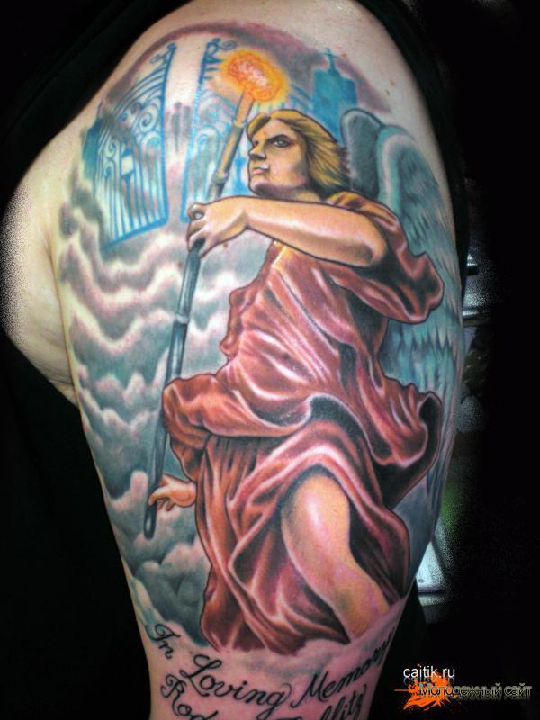 Святой Архангел цветная татуировка