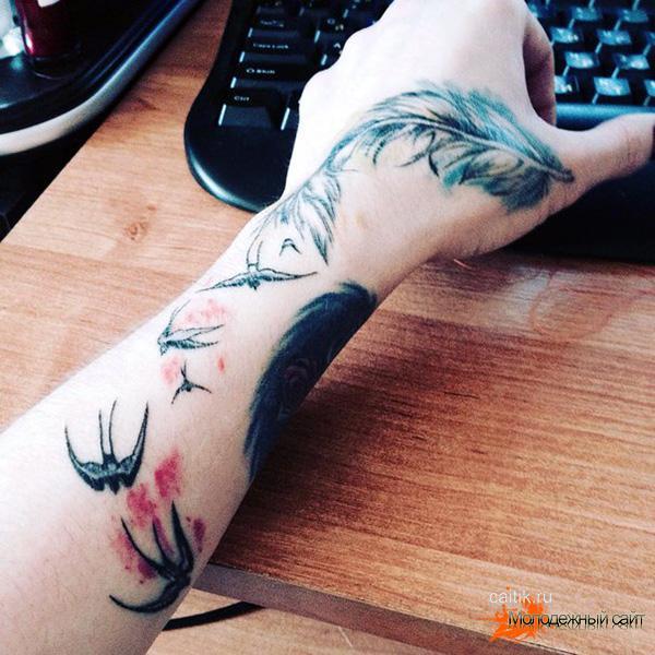 цветная татуировка перо с ласточками