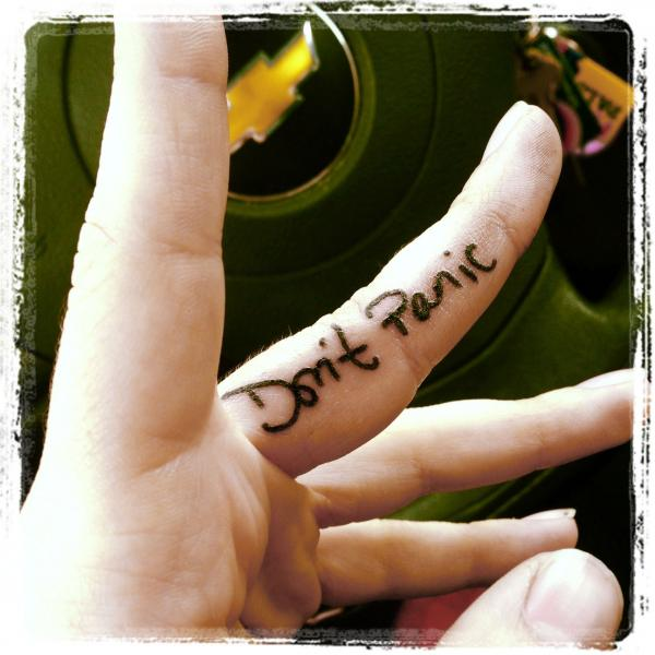 тату на среднем пальце Don't Panic